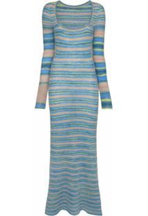 Jacquemus Vestido Longo De Tricô Listrado - Azul