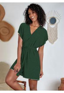 Robe Com Faixa Grátis Verde E Poá