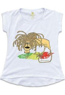 Camiseta T-Shirt Geek Cool Tees Quadrinhos Leão Jamaica Bob Marley Feminina - Feminino-Branco