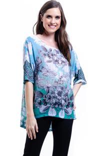 Blusa 101 Resort Wear Basica Estampada Flores Graficas Azul