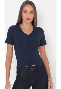 Blusa Canelada Com Amarração- Azul Marinho- Tritontriton