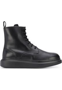 Alexander Mcqueen Ankle Boot Oversized Com Cadarço - Preto