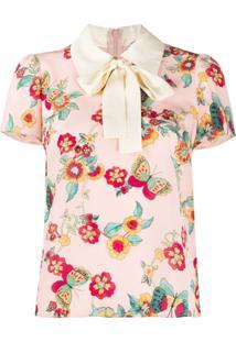 Redvalentino Blusa Com Estampa De Flores E Borboletas Rosa
