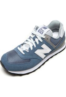 Tênis Couro New Balance 574 Azul/Cinza