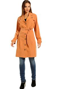 Casaco Trench Coat, Com Bolsos E Faixa - Moderno E Atemporal Caramelo