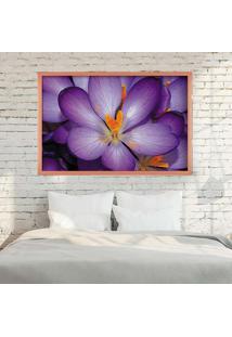Quadro Love Decor Com Moldura Violetas Rose Metalizado Grande