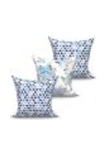 Conjunto De Capas De Almofadas Com 3 Peças Triângulo Azul 45X45 Cm