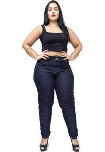 Calça Jeans Credencial Plus Size Skinny Claudeci Feminina - Feminino-Azul