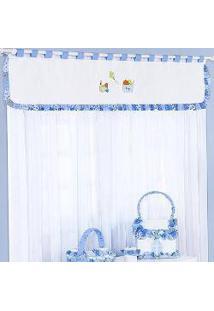 Cortina Quarto De Bebê Pedrinho Azul 2,00M 7 Peças