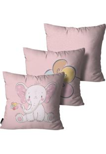 Kit Mdecore Com 3 Capas Para Almofada Infantil Elefante Rosa 55X55Cm - Rosa - Dafiti