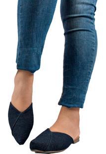 Sapatilha Mule Bico Fino Conforto Jeans - Kanui