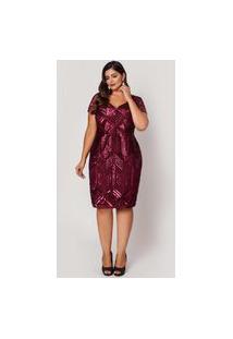 Vestido Almaria Plus Size Pianeta Curto Renda Vinho