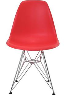 Cadeira Eames Eiffel Rivatti Sem Braço Pp Base Cromada Vermelho