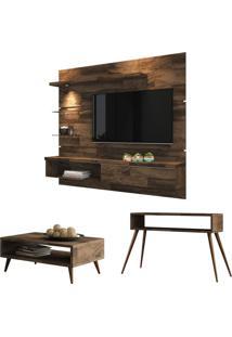 Painel Tv Ores Com Mesa De Centro Lucy E Aparador Quad Deck - Hb Mã³Veis - Marrom - Dafiti