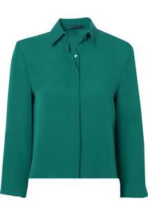 Camisa Bobô Cleópatra Seda Verde Feminina (Verde Medio, 34)