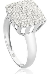 Anel De Ouro Branco 18K Pavê Quadrado Com Diamantes-Coleção Engaged
