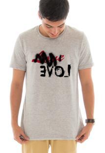 Camiseta Touts Manga Curta Love Is Evil442 Cinza
