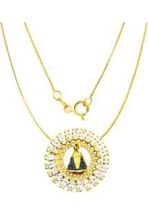 Gargantilha Prata Mil Nossa Senhora Aparecida C/ Zircã´Nia Folheado Em Ouro Dourada - Dourado - Feminino - Dafiti