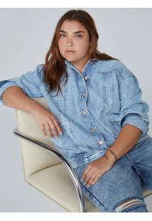 Jaqueta Feminina Reta Em Jeans De Algodão E Elastano - Azul Claro