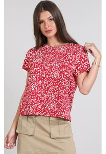 Blusa Feminina Ampla Estampada De Corações Manga Curta Vermelha