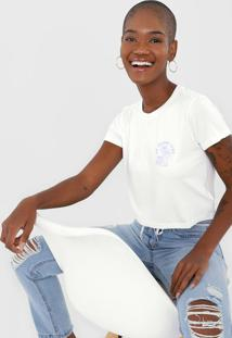 Camiseta Cropped Aeropostale Island Time Branca/Azul - Kanui
