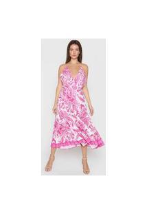 Vestido Lança Perfume Midi Arabescos Branco/Rosa