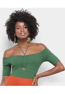 Body Farm Busto Ombro A Ombro Canelado Feminino - Feminino-Verde