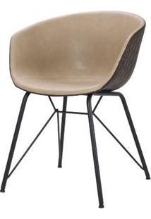 Cadeira Rey Courino Nude Base Preto 80Cm - 62841 - Sun House