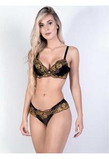 Conjunto Yasmin Lingerie Sutiã Calcinha Dia A Dia Feminino - Feminino-Preto+Dourado