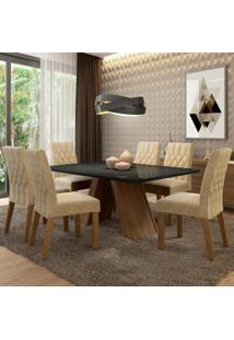 Conjunto Sala De Jantar Madesa Vanessa Mesa Tampo De Vidro Com 6 Cadeiras Marrom - Tricae