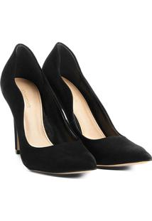 Scarpin Couro Shoestock Salto Alto Ondas - Feminino-Preto