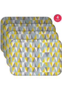 Jogo Americano Love Decor Wevans Multi Triângulos Kit Com 4 Pçs