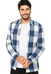 Camisa Levis Xadrez Azul/Branco