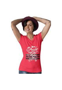 Camiseta Feminina Gola V Ezok Caution Sk8R Vermelho