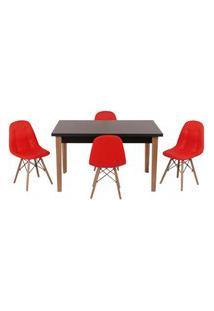 Conjunto Mesa De Jantar Luiza 135Cm Preta Com 4 Cadeiras Botonê - Vermelho