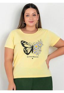 Blusa Amarela Com Estampa Na Frente Plus Size