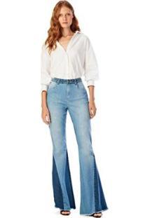 Calça Iódice Flare Cós Alto Bicolor Jeans Feminina - Feminino