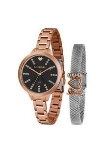 Kit Relógio Feminino Lince Lrr4667L Ky21P1Rx Analógico 50M + Brinde | Lince | Rosa | U