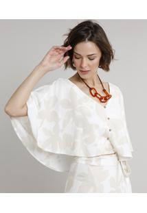 Blusa Feminina Cropped Estampada De Folhagem Com Sobreposição E Botões Manga Curta Decote V Off White