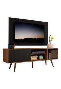 Rack Madesa Cairo E Painel Para Tv Até 58 Polegadas Com Pés De Madeira - Rustic/Preto 7Kd8 Cor:Rustic/Preto