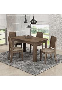 Conjunto Sala De Jantar Mesa 4 Cadeiras Bárbara Cimol Color Flex Marrocos/Café/Preto