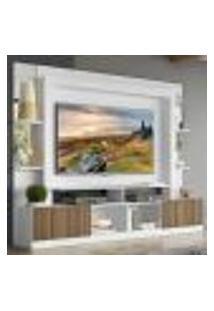 "Rack C/ Painel Tv 65"" Prateleiras C/ Espelho Oslo Multimóveis Branco/Madeirado"