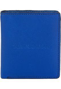 Carteira Couro Calvin Klein Básica Masculina - Masculino-Azul