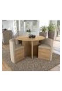 Mesa De Jantar Nira Com 4 Cadeiras Kappesberg - Freijó/Bege Geométrico