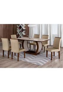 Conjunto De Mesa De Jantar Com Vidro E 6 Cadeiras Maia I Linho Castor E Cinza