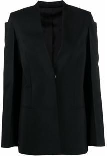 Givenchy Jaqueta Sem Colarinho Com Abotoamento Simples - Preto