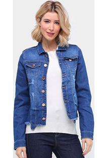 Jaqueta Jeans Ecxo Estonada Barra Desfiada Feminina - Feminino-Azul Escuro