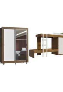 Kit Guarda-Roupa Denver Com Espelho + Beliche Larissa Madesa