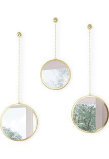 Kit Com 3 Espelhos Dima Dourado