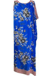 P.A.R.O.S.H. Vestido Midi Com Recorte Contrastante - Azul